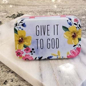 PRAYER BOX beautiful floral print tin box